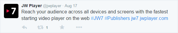 A tweet claiming JW7 supports all devices and screens...